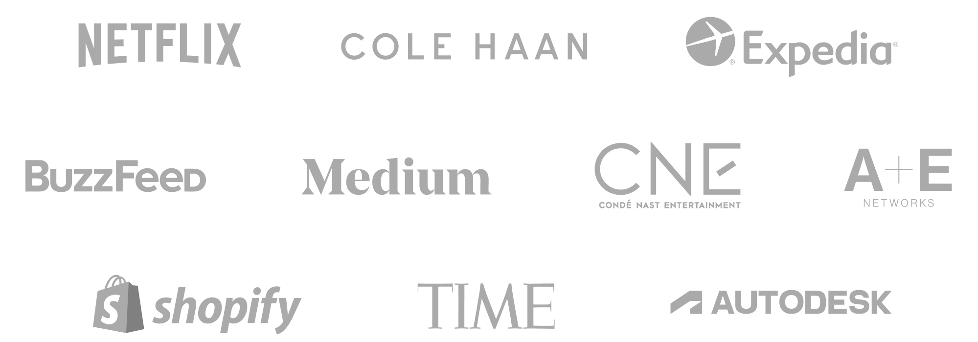 Logos of Airtable customers Netflix, Cole Haan, Expedia, BuzzFeed, Medium, Condé Nast Entertainment, A+E Networks, Shopify, TIME, and Autodesk